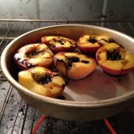 Keeping the Roasted Peaches warm for Dessert