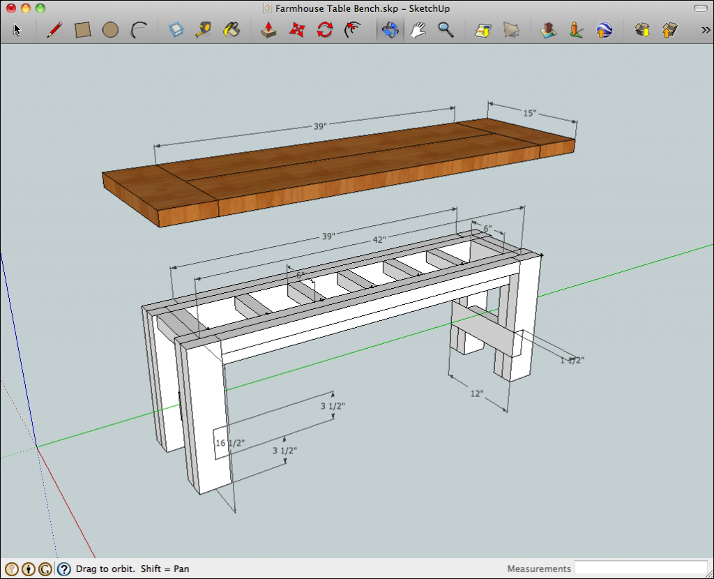 SketchUp model of the rustic farmhouse table bench with benchtop ...
