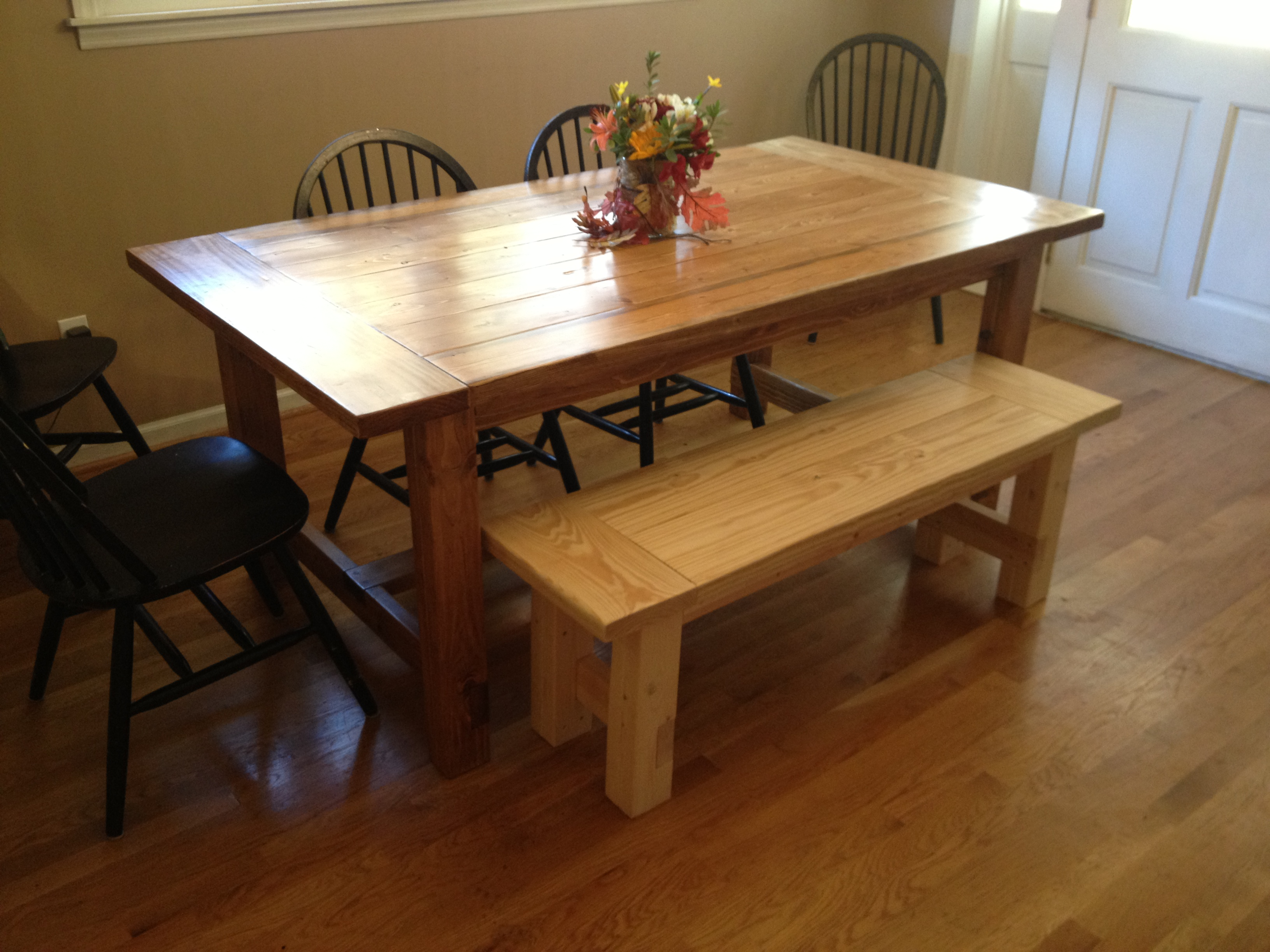 plans for making a rustic farmhouse table bench a lesson learned